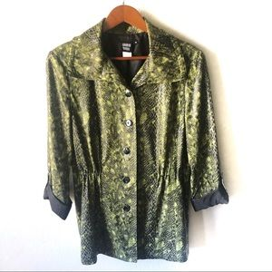 Sharon Young green snake print button front jacket